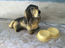 BARBIE  DOLL HOUSE DIORAMA  ACCESSORY PETS BASSET HOUND DOG W DOG FOOD DISH
