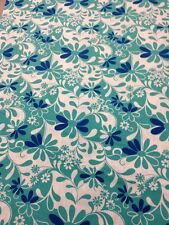 Crazy Daisy 100 % Cotton Quilting Craft Fabric Green Blue White By Half Metre
