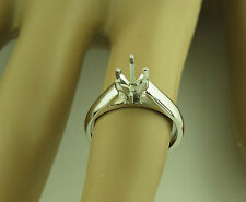 2Carat Marquise Solitaire ring setting 14K Solid White Gold Mounting