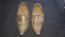"Vintage Handmade Dutch ""Holland"" Pair of Wooden Clogs w/Leather"
