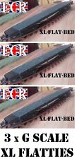 3 (Three) G SCALE 45mm GAUGE XL LONG FLATBED 57cm TO BUILD ONTO RAILWAY TRAIN