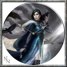 GLASS WALL CLOCK RAVEN AND GOTHIC LADY Anna Steinbauer NEW & BOXED NEMESIS NOW