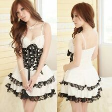 Woman Sexy Sheer White Lace Princess Costume Dress Cosplay Sleepwear Lingerie