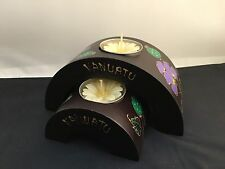 Vanuatu Wooden Arch Hand-painted Candle Holders with Flower Candles – Set of 2