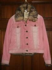 NWT THE CHILDREN'S PLACE pink corduroy jacket removable faux fur cuffs vest XS 4