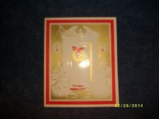 Vintage Christmas Card, Unmarked 234C - Gold and Red Wreath on Front Door