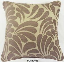 """2 X LATTE COFFEE BEIGE FLORAL THICK HEAVYWEIGHT CHENILLE 22"""" CUSHION COVERS"""