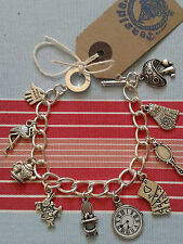 Hand Made ALICE IN WONDERLAND TEA PARTY CHARM BRACELET RABBIT CHESHIRE  CAT