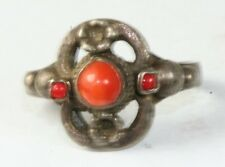 VINTAGE EARLY 1900'S AUSTRO HUNGARIAN 800 STERLING SILVER CORAL RING