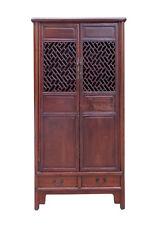 Chinese Vintage Brown Lettuce Panel Doors Storage Cabinet cs1518