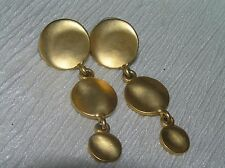 Estate Long Brushed Goldtone Three Tapered Disks Post Earrings for Pierced Ears
