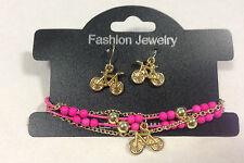 Bracelet & Earring Jewelry Set - Pink Bike