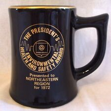 Vintage Western Electric President's safety award Black Coffee Mug Cup 1972