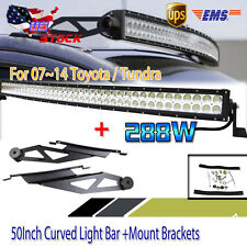 "50"" 288W LED Curved Work Light Bar + Mount Bracket For 2007-2014 Toyota Tundra"