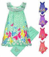 Girls Butterfly Dress Leggings Outfit Kids Summer Set New Outfit Age 2-10 Years