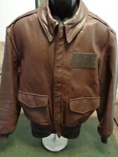 Vtg  A-2 FLIGHT BOMBER Jacket 42 GOATSKIN Leather COOPER Brown