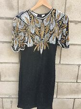 Vtg Laurence Kazar Black Gold Silver Silk Beaded Sequin Cocktail Formal Dress L