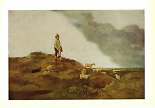 Old Vintage JOHN CROME Print Shepherd Sheep Collie Dog View of Mousehold Heath