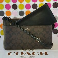 New Coach Signature PVC EW Pop Pouch Crossbody Bag F58316 in Brown/Black $225
