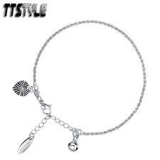 TTstyle 18K White Gold Filled Chain Heart Bracelet Jingle Bell Ajustable NEW