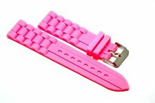 22MM BRIGHT PINK SILICONE RUBBER WATCH BAND STRAP FITS FOSSIL TRAVELER
