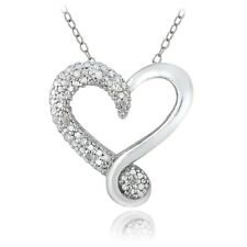 925 Sterling Silver 1/8ct Diamond Heart Necklace, 18""