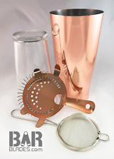 Copper Pro Boston Cocktail Shaker 28oz Tin, Glass, Strainer & Fine Strainer Set
