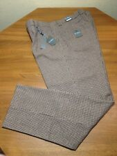 Steve Harvey Celebrity Edition Brown Houndstooth Plaid Wool Pants Mens 42x34 NWT