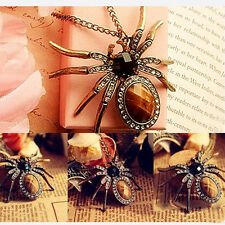 New Retro Bronze Crystal Rhinestone Spider Bead Charm Pendant for Necklace OE