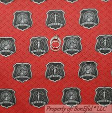 BonEful Fabric FQ Cotton Quilt Red Black Gray Police Fire Fighter Badge 911 Hero