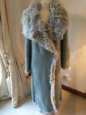 Kenzo Sheep Skin Coat Maxi Sage Green Quirky Funky Super Warm Sz 44 It L