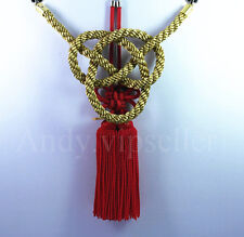 2 In 1 Chinese Red Kiku Knot Golden Kin Rope For Car Rearview Mirror Vip Charms