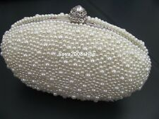 Ivory / Creamy New Wedding Bridal Evening Party Pearl Bag**Free shipping to UK**