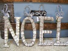 "Set 4 NIB 8"" NOEL Glitter Beads Antique SHEET MUSIC LETTER Christmas ORNAMENTS"