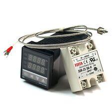 PID Digital Temperature Control Controller REX-C100+ K Sensor +25DA SSR