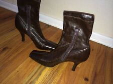 BCB Girls Brown Leather High Heel Boots 7 1/2  37.5