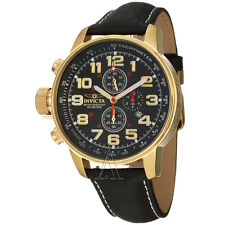 New Invicta Mens 3330 I Force Black Gold Swiss Quartz Chrono Leather Lefty Watch