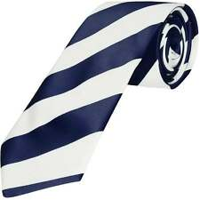 TiesRUs Navy Blue and White Striped Hand Made Classic Men's Football Tie