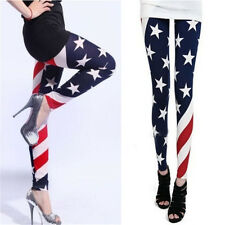 HOT Womens Stars and Stripes USA Full Length Ladies American Flag Leggings Pants