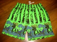 NEW Vtg 80s 90s Castaway NEON Green Mens XL Surf chubbies Jams cotton shorts XL