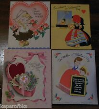 4 CHILDREN HEART VALENTINES DAY GREETING CARDS-NOVELTY ATTACHED LACE RIBBON NET