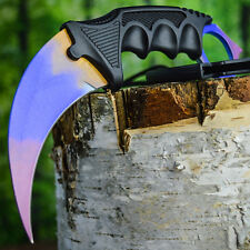 TACTICAL COMBAT KARAMBIT NECK KNIFE Survival Hunting BOWIE Fixed Blade FADE