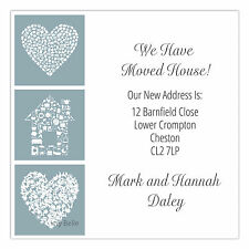 Personalised Mini Change of Address Cards Moving House Announcement House Hearts