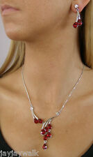 SWAROVSKI RUBY RED CRYSTAL ELEMENTS TEARDROPS NECKLACE SET WHITE GOLD PLATED