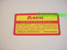 1964 1967 Chrysler Plymout 361 383 440 4 bbl Do Not Wash ROUND Air Cleaner Decal
