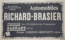 PUBLICITÉ AUTOMOBILE RICHARD BRASIER GAGNANT DE LA COUPE GORDON BENNETT 1904