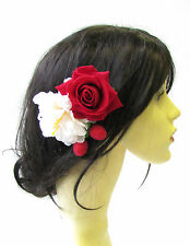Strawberry Rouge Écru Fleur Rose Peigne À Cheveux Vintage Rockabilly 1950s Berry