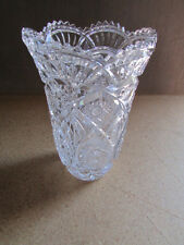 "Beautiful Lead Crystal Vase 8 3/4"" Tall x 5 3/4"" Round Top x 3"" Base"