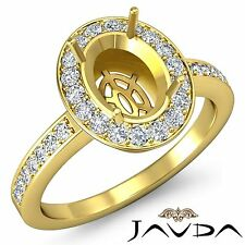 Classic 1Ct Diamond Engagement Halo Pave Ring Oval Semi Mount 14k Yellow Gold