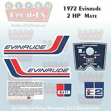 1972 Evinrude 2 HP Mate Outboard Reproduction 6 Piece Marine Vinyl Decals 2202